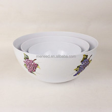 Flower design white color plastic melamine round vegetable bowls for salad