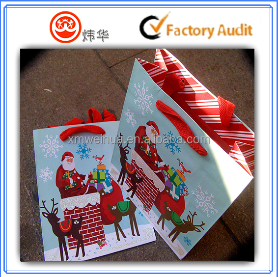 Hot sale Custom printed Christmas packing paper bag