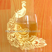 "2014 Elegant Wedding Favors! Laser Cut ""Peacock"" Wedding Cards For Wine Glass From Mery Crafts"