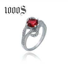 2016 new design ladies finger ring , 925 sterling silver with rhodium plated , red & blue main stone