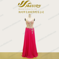 Enchanting beaded chiffon back X spaghetti strap backless evening dresses with bead