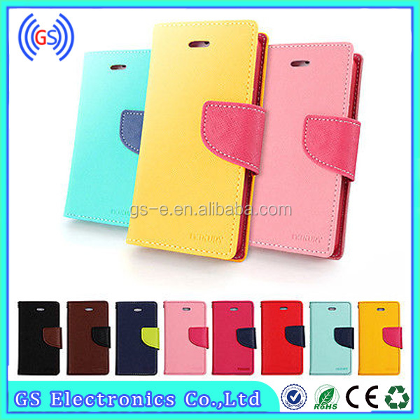 Factory Supply Double Color Fancy Diary Case(Goospery Mercury) Wallet Stand Mobile Phone Case For Ipad Mini