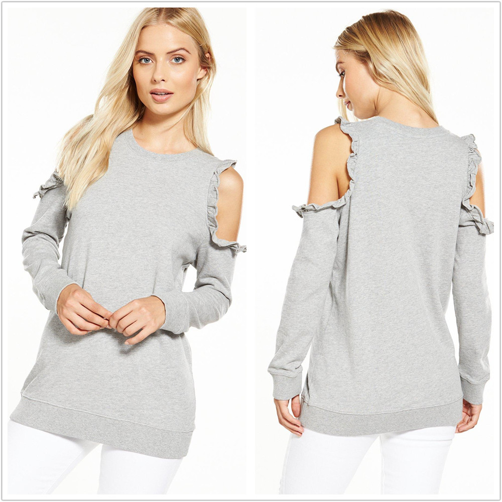 Chinese women clothing autumn/winter custom cut-out ruffle shoulder sweatshirt