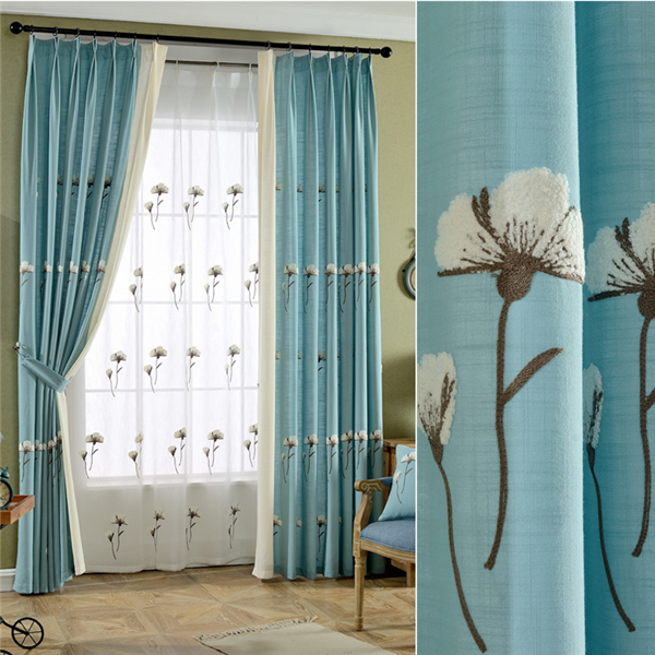 Small patterned fabric curtains for the living room