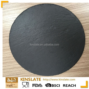 hot selling natural edge round black slate charger plate for dinner serveware