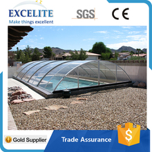 Hot Safety Telescopic Pool Cover Automatic Polycarbonate Swimming Pool Cover for 18.3'*35.4'