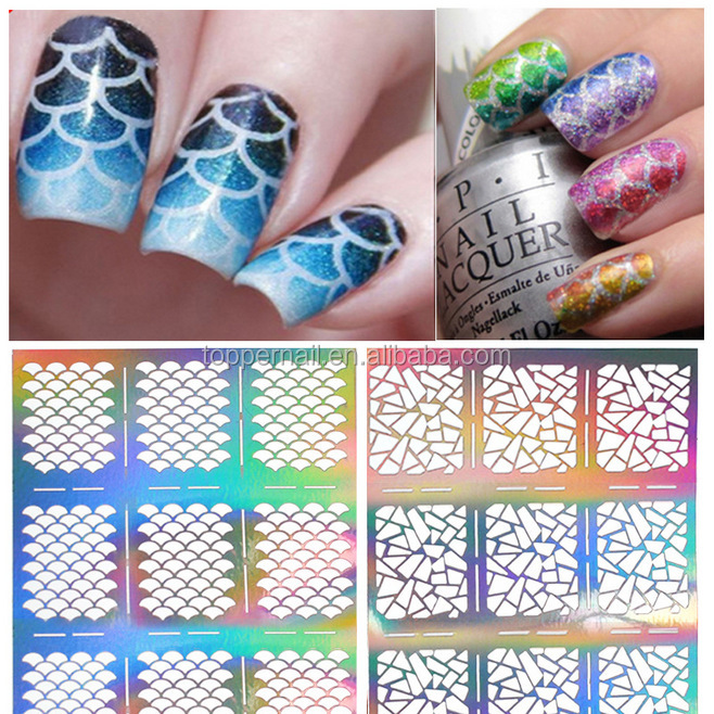 2016 new silver hollow nail stencil/ hollow nail stickers with wholesale price