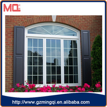 french style plastic/pvc large colourful tint glass window with grill design