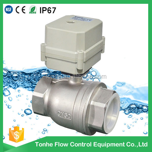 DN50 2 inch 2 way DC12/24V SS304 stainless steel electric control spring return motorized ball valve