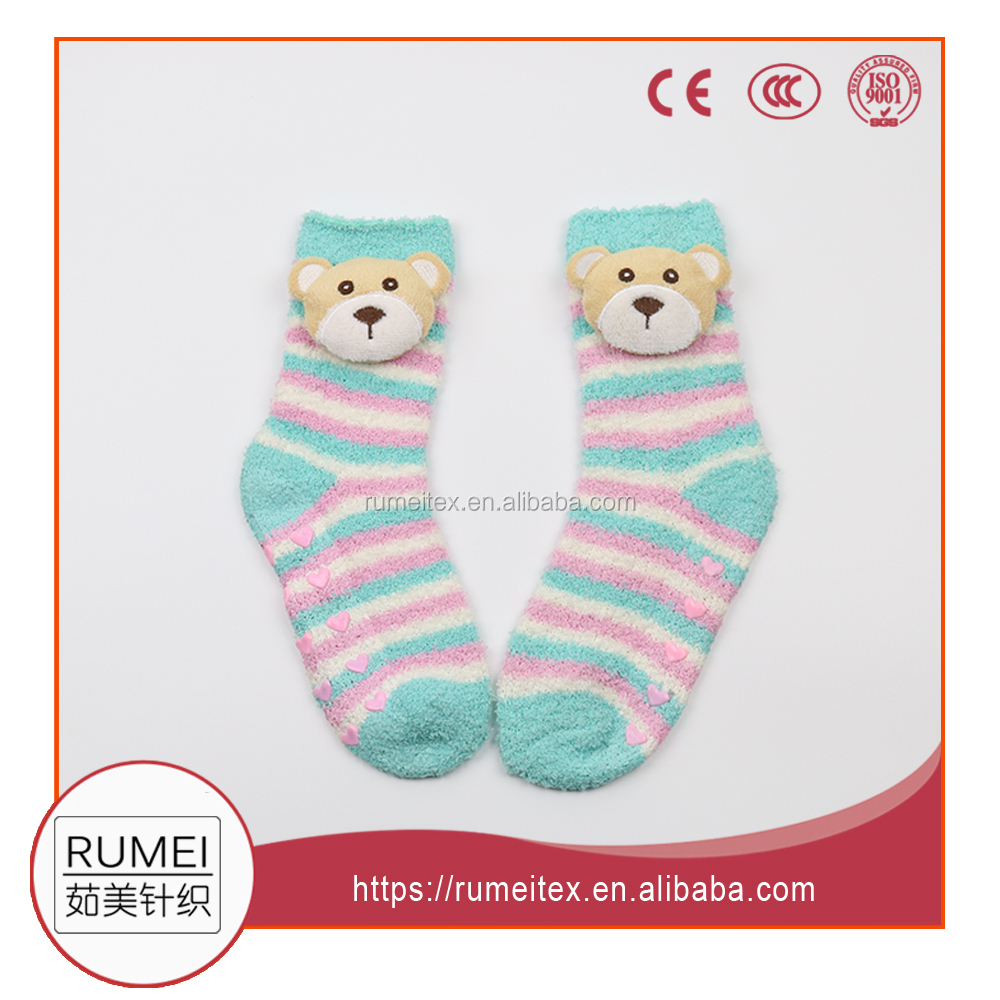 Child Microfiber soft anti slip with animal head fashion cozy socks