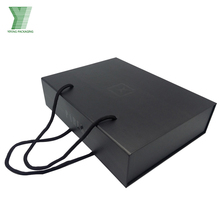 Wholesale cheap plain custom shoe boxes black cardboard packaging box with handles