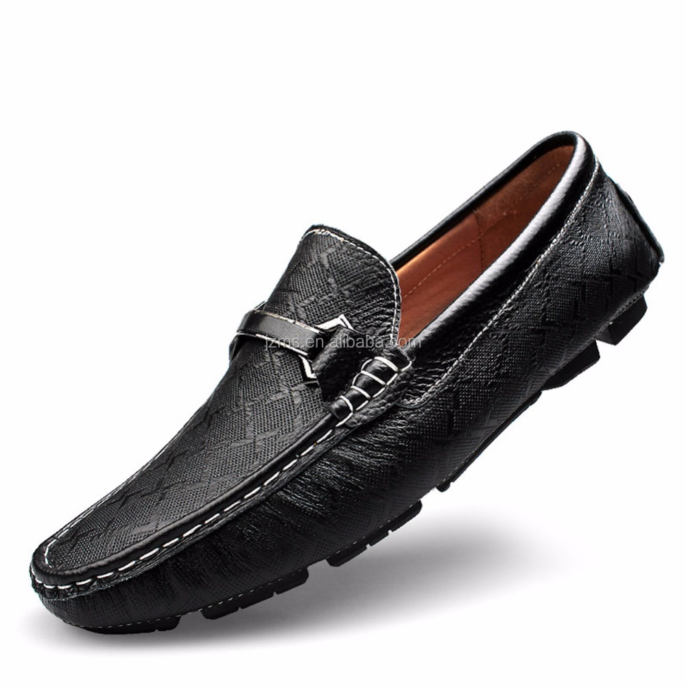Rismart Men's Elaborate Embossing Design Leather Driving Loafers