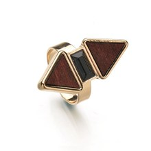 Brown FauxTurquoise Marble Stone Punk Trendy Double Layer Geometric Rings