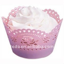 2011chrismas rose Laser cutting 3D personalized design wedding favour cupcake wrappers