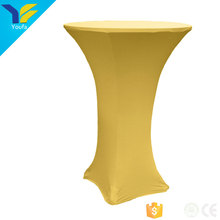 Golden polyester high bar cocktail stretch table cloth spandex table cover for wedding