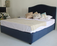 Modern home bedroom furniture design latest blue double bed frames