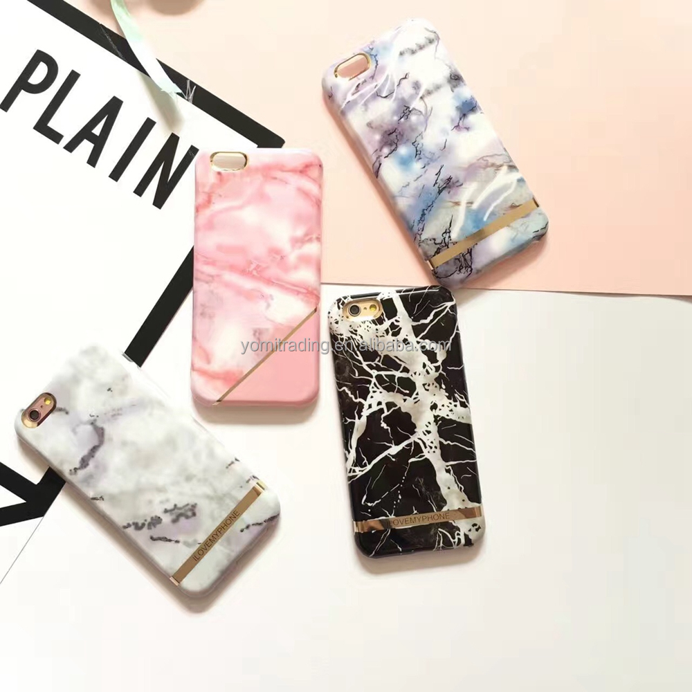 2017 new Hot Selling Fashion colorful Marble phone Case For Iphone 7/7plus Soft IMD Capa Granite Back Cover