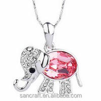 Shinning Austrian crystal lovely elephant fashion necklace 2016