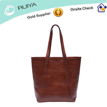 Women's leather tote handbag with two top long handles-HB-181