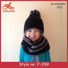 F-299 new black&grey fashion hand crochet one piece hat and scarf set for kids