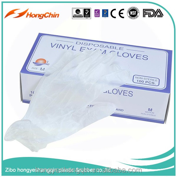 medical vinyl gloves colored box packing powdered and powder free