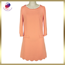 pictures office dress for ladies long sleeve pink beaded dress