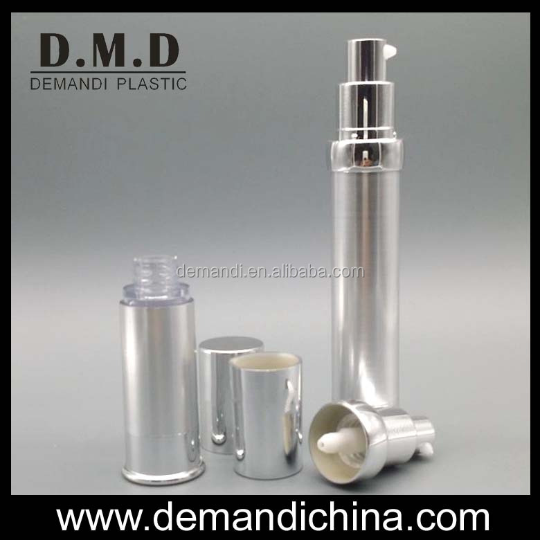 Aluminum silver airless bottle 5ml 10ml 15ml empty plastic airless cosmetic bottle
