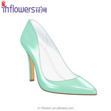 Light blue patent leather ladies high heel dress shoes