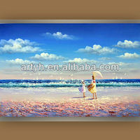 Popular woman and girl on the seaside natural art images