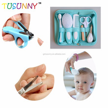 top sale infant health care kit comb scissor nail clipper toothbrush blue cloth bag home protection baby safety kit