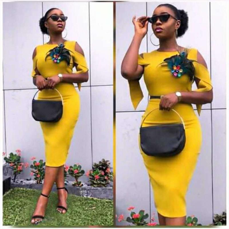 Wholesale yellow sexy ladies dress