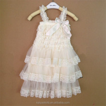 Ivory Rustic Lace Chiffon Dress Flower Girl Dress
