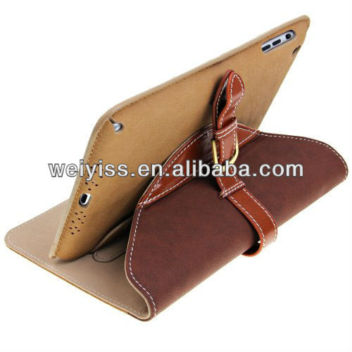 Light Brown Leather Belt Buckle Case for iPad Mini