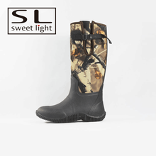 camo neoprene outdoor women rain boots with buckle