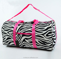 "22"" Zebra DUFFLE Bag Overnight TOTE Dance Carry On Travel Gym Cheer Pink Fuschia"