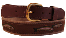Brown canvas Fishing design Leather Embroidery Ribbon Belt