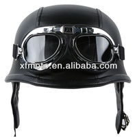 Motorcycle Biker WWII Style DOT Black Leather German Motorcycle HALF Helmet w/Pilot Goggles