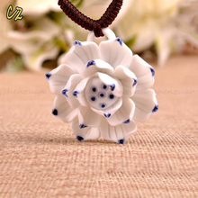 China wholesaler hand painted white ceramic flower necklace for women