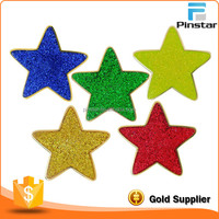 Colorful five star soft enamel with glitter metal blank lapel pins