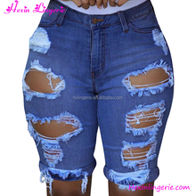 Deep Blue Hollow Women Frocks Denim Short Jeans