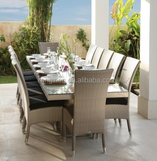 Fabulous 12 seater 5 star hotel dining table set made of high glossy rattan suitable cane furniture price