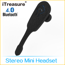 iTreasure bluetooth wireless headset,one ear stereo headset with mic