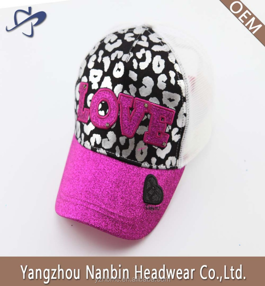 Fashion 5 panel mesh baseball cap hat with built-in led light and silver powder printing glitter applique embroidery on front
