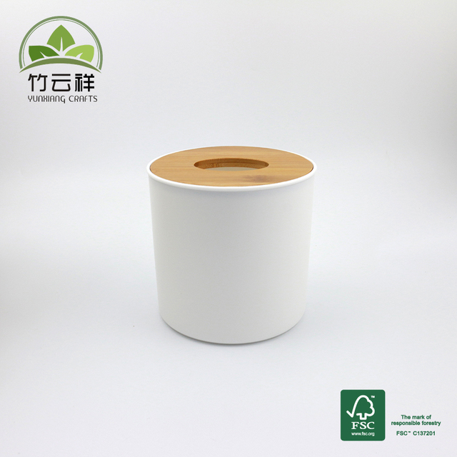 5 inch round wooden tissue paper toilet paper box roll holder