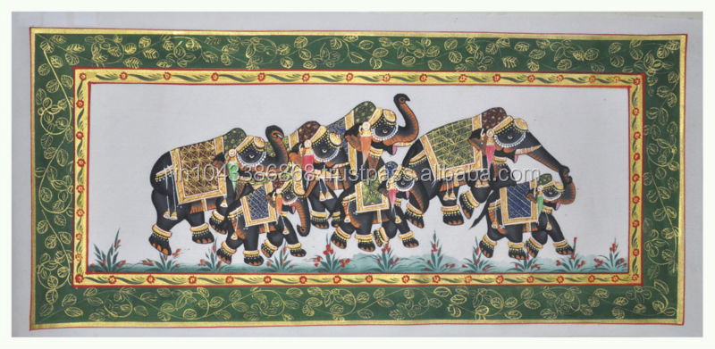 Indian Elephant Design Wall Decor Miniature Ethnic Handmade Painting On Silk Home Decor Art 34X17 Inches Blue