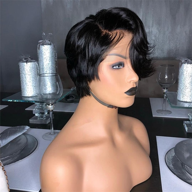 Lace Front Short Wig Natural Hairline Black Human Hair Cuticle Aligned Pixie Cut Wigs With Baby Hair