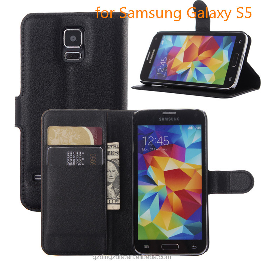 free sample fip PU Leather Wallet cell Phone cover Case For Samsung Galaxy S5
