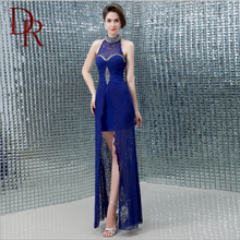 D&R party mature short front long back lace halter full length sleeveless shift frocks high nackline dresses women ladies
