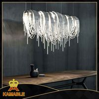 Wrought steel Aluminum Chainmail Long Chandelier Frame