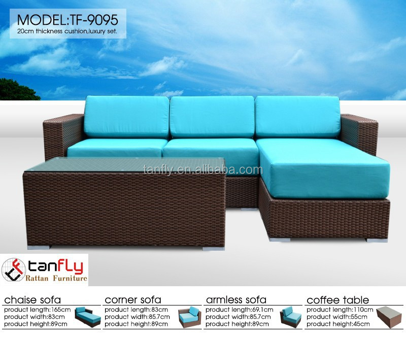 Environmental friendly wicker outdoor sofa set rattan sectional sofa